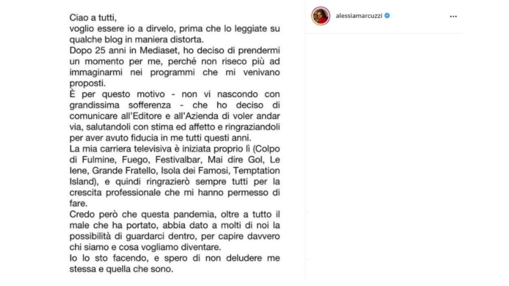 alessia marcuzzi lascia mediaset e lo scrive su instagram