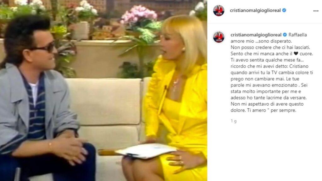 cristiano malgioglio e il post su instagram dopo la morte di raffaella carrà