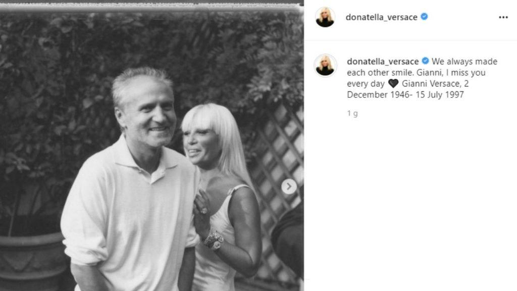 gianni versace, il ricordo della sorella Donatella nel giorno dell'anniversario di morte
