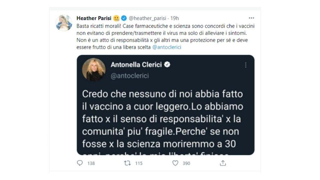 heather parisi risponde ad antonella clerici su twitter