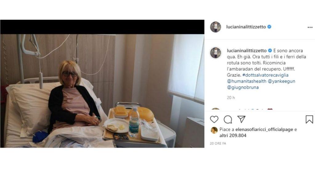 Luciana Littizzetto ricoverata in ospedale