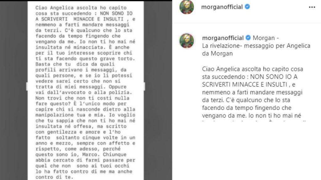 il messaggio di Morgan all'ex Angelica
