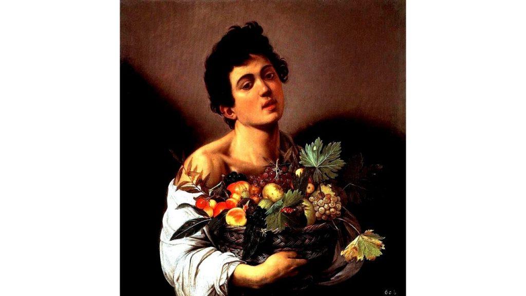 fanciullo con canestro di frutta