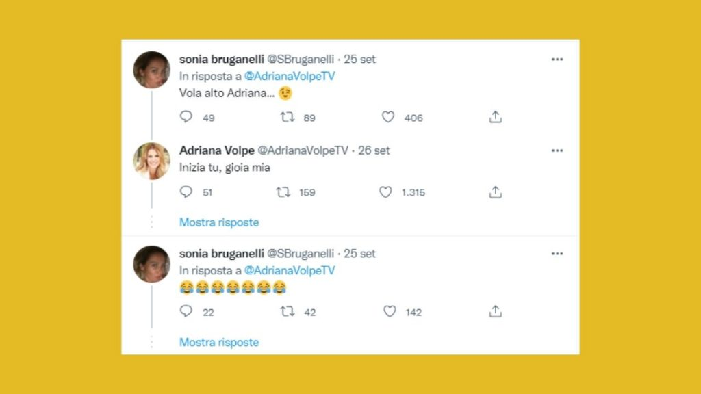 sonia bruganelli contro adriana volpe su twitter