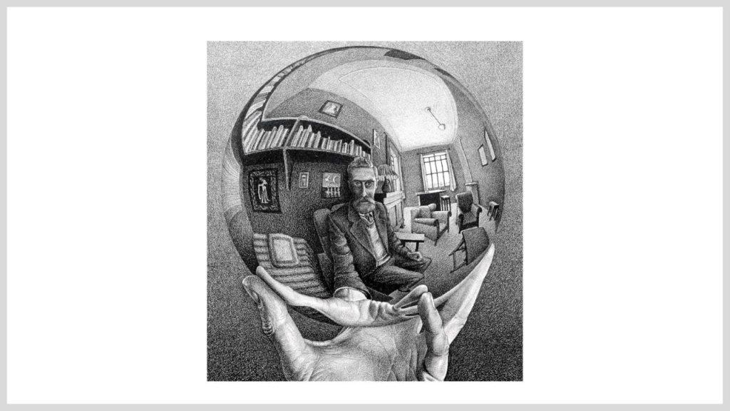 mano con sfera riflettente escher